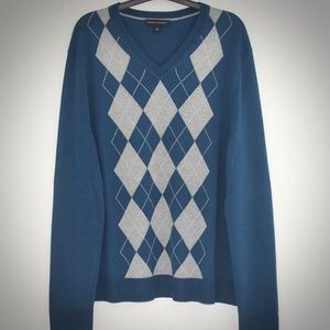 Banana Republic Sweater L Argyle Silk Cashmere